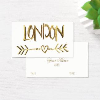 London UK Love Gold Look Typography Elegant Business Card