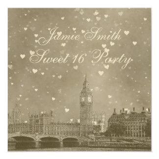 London UK Skyline Dist Gray White Heart Sweet 16 Card