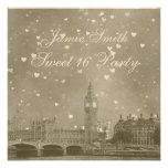 London UK Skyline Dist Gray White Heart Sweet 16 Custom Invites