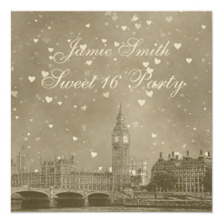London UK Skyline Dist Gray White Heart Sweet 16 5.25x5.25 Square Paper Invitation Card