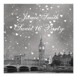 London UK Skyline Gray White Heart Sweet 16 Card