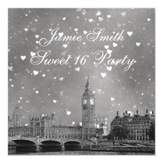 London UK Skyline Gray White Heart Sweet 16 5.25x5.25 Square Paper Invitation Card