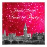 London UK Skyline Hot Pink Red Heart Sweet 16 Card