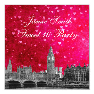 London UK Skyline Hot Pink Red Heart Sweet 16 5.25x5.25 Square Paper Invitation Card