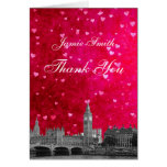 London UK Skyline Hot Pink Red Heart Thank You Card