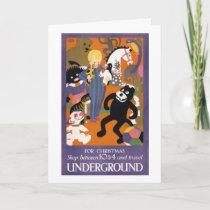 London Underground Vintage Transportation Poster Holiday Card