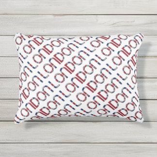 London Union Jack British Flag Typography Elegant Outdoor Pillow
