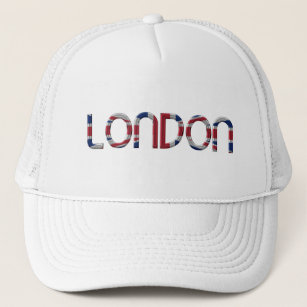 9e5e734878161 London Union Jack British Flag Typography Elegant Trucker Hat