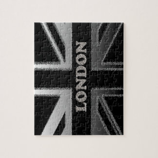 London Union Jack Modern Black and Silver Puzzle