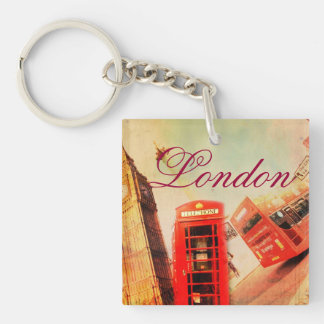 London vintage Single-Sided square acrylic key ring