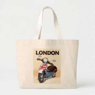 London vintage scooter union jack travel poster. jumbo tote bag