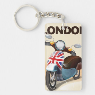 London vintage scooter union jack travel poster. Single-Sided rectangular acrylic keychain
