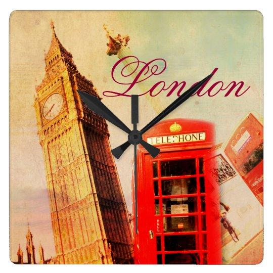 London vintage square wall clock