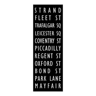 London Vintage Streets Sign Posters