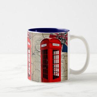 london vintage telephone booth british fashion Two-Tone coffee mug