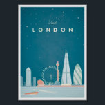 "London Vintage Travel Poster<br><div class=""desc"">Vintage style travel poster of the iconic London skyline at night. Text reads Visit London. Original hand drawn and digitally rendered vintage travel posters illustration by VintageTravelPosters.co.</div>"