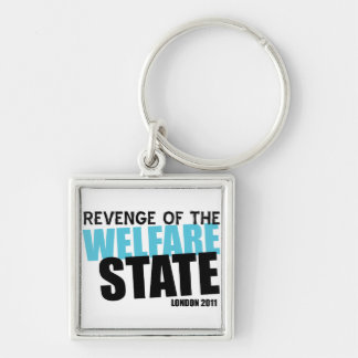 London Welfare State Silver-Colored Square Keychain