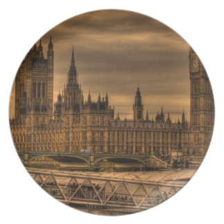 London Westminster Palace & Big Ben Dinner Plates