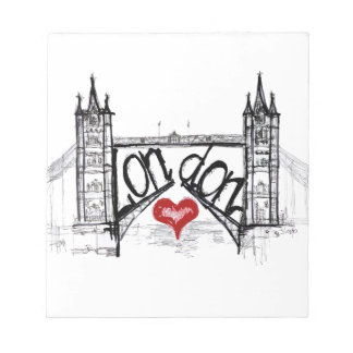 London with love note pad