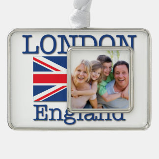 London with Union Flag Silver Plated Framed Ornament