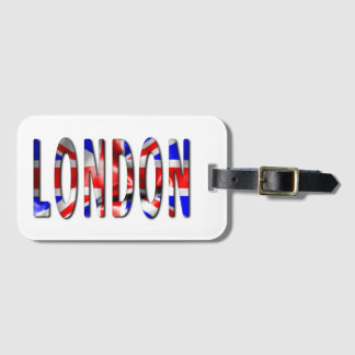 London Word With Flag Texture Luggage Tag