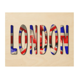 London Word With Flag Texture Wood Wall Art