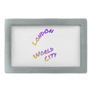 London world city, colorful text art rectangular belt buckle