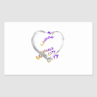 London world city, water Heart Rectangular Sticker