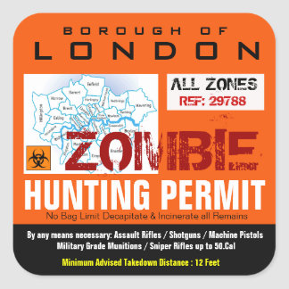 London Zombie Hunting permit Sticker