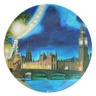 Londres Big Ben y el parlamento con Thames Platos Para Fiestas