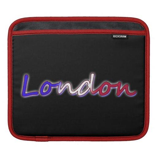 Londres - blanco rojo y azul - en negro funda para iPads