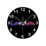 Londres - blanco rojo y azul - en negro relojes
