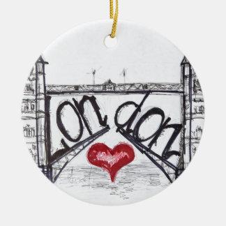 Londres con amor adorno navideño redondo de cerámica