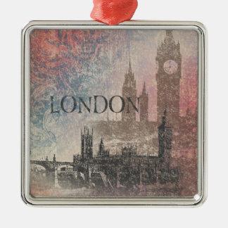 Londres con el vintage rojo y azul del parlamento adorno navideño cuadrado de metal