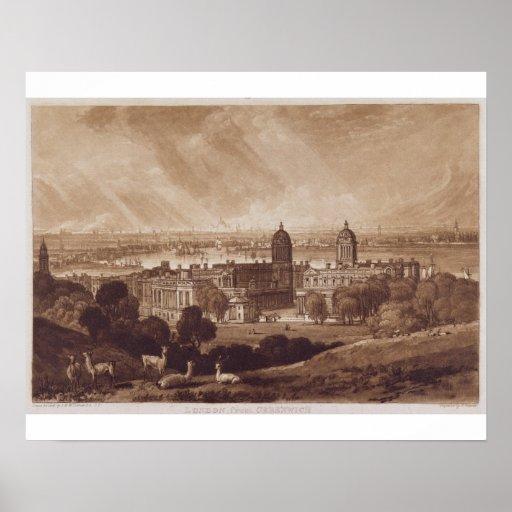 Londres de Greenwich, grabado por Charles Turner Impresiones