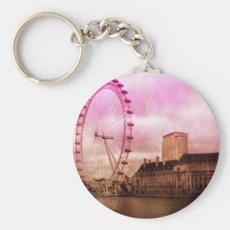 Londres, efecto rosado llavero redondo tipo chapa