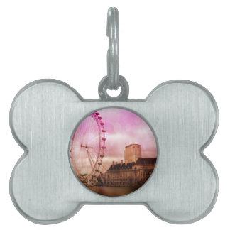 Londres, efecto rosado placas de nombre de mascota