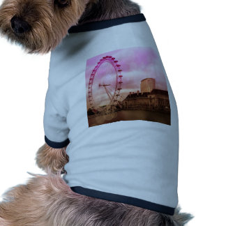 Londres, efecto rosado camiseta con mangas para perro