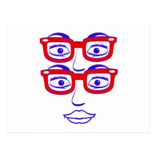 Londres Geeky cuatro ojos Tarjeta Postal