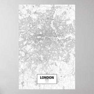 Londres, Inglaterra (negro en blanco) Póster