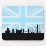 Londres localiza el horizonte y Union Jack Alfombrillas De Raton