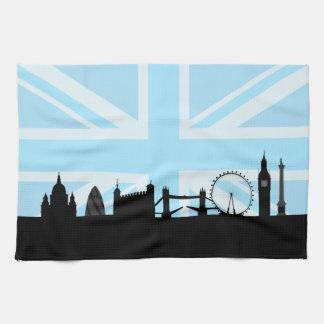 Londres localiza el horizonte y Union Jack Toallas De Cocina
