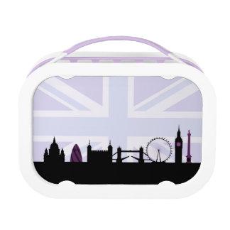 Londres localiza horizonte y Union Jack/púrpuras