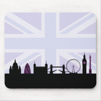 Londres localiza horizonte y Union Jack/púrpuras Alfombrillas De Raton