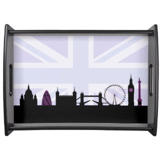 Londres localiza horizonte y Union Jack/púrpuras Bandejas