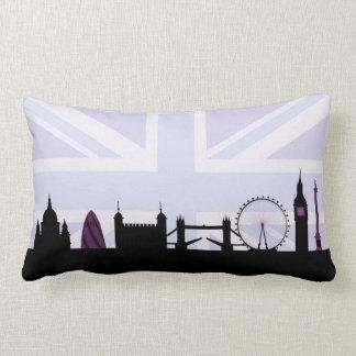 Londres localiza horizonte y Union Jack/púrpuras Cojín