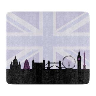 Londres localiza horizonte y Union Jack/púrpuras Tablas Para Cortar