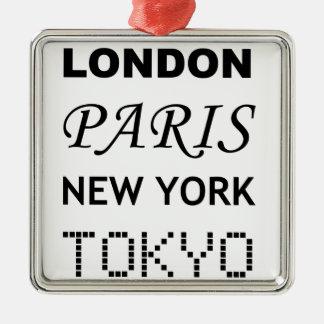 Londres, París, Nueva York, Tokio Adorno Navideño Cuadrado De Metal