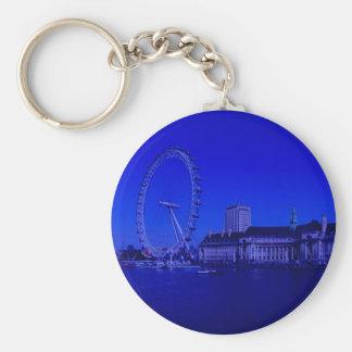 Londres, profundamente azul llavero redondo tipo chapa