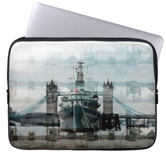 Londres, puente y HMS Belfast de la torre de Fundas Ordendadores